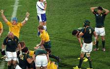 Referee Bryce Lawrence blows the final whistle as the Springboks exit the 2011 Rugby World Cup. Picture: AFP