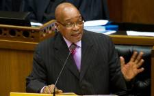 President Jacob Zuma answers questions in parliament. Picture: Sapa.