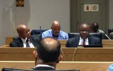 Eskom's Chairperson Ben Ngubane, left, and CEO Brian Molefe answering MPs' questions. Picture: Gaye Davis/EWN.
