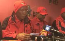 EFF leader Julius Malema briefs the media. Picture: Kgothatso Mogale/EWN.