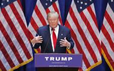 Real estate mogul Donald Trump announcing his bid for the presidency in the 2016 presidential race during an event at the Trump Tower on the Fifth Avenue in New York City on 16 June, 2015. Picture: AFP.