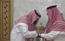 Saudi Arabia's new crown prince Mohammed bin Salman (left) greets his father King Salman. Picture: screengrab/CNN