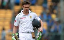 AB de Villiers walks off after being dismissed. Picture: AFP