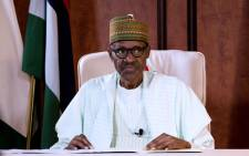 FILE: Nigerian President Mohammadu Buhari addressing the nation on state television in his first speech since returning from a long medical absence in Britain, in a bid to dampen mounting separatist tensions in the country. Picture: AFP.