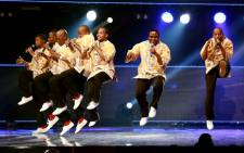Grammy Award winners Ladysmith Black Mambazo perform at the International Convention Centre (ICC) in Durban. Picture: AFP.