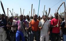 FILE: Lonmin workers marching for better wages in September 2012. Picture: Taurai Maduna/EWN.