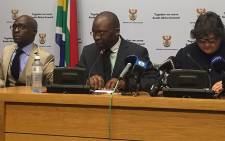 Finance Minister Malusi Gigaba, Justice Minister Michael Masutha and Public Enterprises Minister Lynne Brown at a briefing announcing that Brown had directed the Eskom board to rescind the reappointment of Brian Molefe as Eskom CEO. Picture: Lindsay Dentlinger/EWN