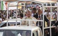 Pope Francis arrives at the Notre Dame Cathedral on 29 November, 2015 in Bangui, Central African Republic. Picture: AFP.