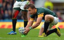 FILE: Handre Pollard takes a penalty during the Springboks vs New Zealand semifinal match at Twickenham on 24 October 2015. Picture: Rugby World Cup @rugbyworldcup