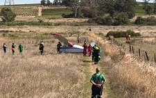FILE: Emergency rescue services on the scene where a plane made an emergency landing. Picture: @ER24EMS/Twitter