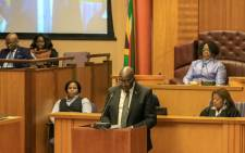 Finance Minister Nhlanhla Nene tabling his budget in Parliament. Picture: @GovernmentZA/Twitter.