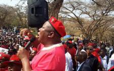 FILE. Economic Freedom Fighters leader Julius Malema addressed Tshwane Uiversity of Technology Students in Soshanguve and a fight erupted between students of his party and Sasco memebers on 26 August 2015. Picture: EFF Official Account @EconFreedomZA.