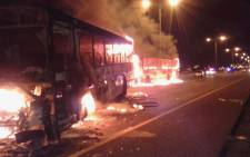 FILE: Two Golden Arrow buses were torched as residents took to the streets over the ANC's candidate election list in Cape Town on 29 June 2016. Picture: Supplied.