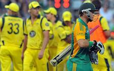 David Miller walks back to the pavillion during the 1st Twenty20 cricket match between South Africa and Australia in Cape Town on October 13, 2011. Picture: AFP