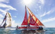 Chinese crew Dongfeng race team won the Cape Town In-Port race on Friday 8 December 2018 afternoon closely followed by Spanish crew of MAPFRE. Picture: Twitter/@DongfengRacing