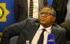 Police Minister Fikile Mbalula addresses media during a presser at Nyanga Junction Mall in Cape Town. Picture: Bertram Malgas/EWN