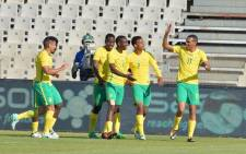 Bafana Bafana players celebrate advancing to the next round of the 2018 CHAN qualifiers. Picture: safa.net