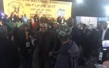 President Jacob Zuma greeting MKMVA members in Boksburg. Picture: Clement Manyathela/EWN.