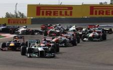 The Formula One racers battle it out on the track. Picture: Facebook.com