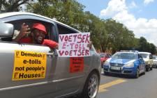Cosatu embarks on a drive slow around the Pretoria CBD in protestation against e-tolls.