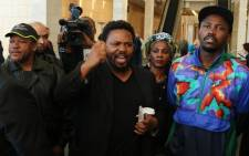 BLF members protest outside The Gathering - Media Edition at the Cape Town International Convention Centre on 3 August 2017. Picture: Bertram Malgas/EWN.