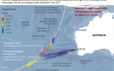 A map shows the search zones for missing Flight MH370 and the areas covered by a sea floor mapping as the search is called off after four years. Picture: AFP