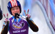 FILE: US Kate Hansen gestures during a Women Luge training session at the Sanki Sliding Centre in Rosa Khutor on February 8, 2014, during the Sochi Winter Olympics. Picture: AFP.