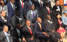 President Jacob Zuma seen among banking delegates of reserve banks from across Africa, on 15 August 2017. Picture: Masa Kekana/EWN.
