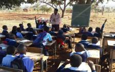Learners in Vuwani have classes outside after schools in the area were torched in violent protests. Picture: Pelane Mabula/EWN.