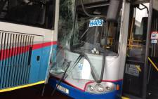 One of the buses is seen after the accident outside the MyCiti Civic Centre Station. Picture: Lauren Isaacs/EWN.