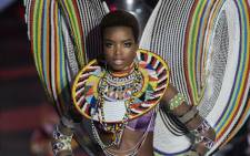 Angolan model Maria Borges presents a creation during the 2017 Victoria's Secret Fashion Show in Shanghai on 20 November 2017. Picture: AFP.