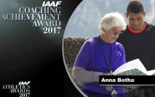 Anne Botha coaches Wayde van Niekerk and was recognised for her work at the IAAF Awards ceremony in Monaco on Friday 24 November 2017. Picture: @iaaforg