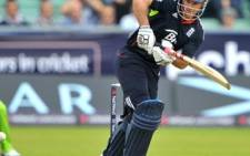 England's Andrew Strauss bats during their first One Day International cricket match against Pakistan. Picture: AFP.
