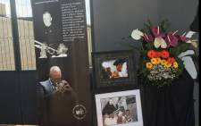 The Trevor Huddleston Memorial Centre in Sophiatown, established in honour of the man who gave Hugh Masekela his first trumpet, has his photos of the late jazz legend outside as a sign of its respects. Picture: Hitekani Magwedze/EWN.