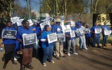 Democratic Alliance supporters picketing outside the National Prosecuting Authority's head offices. Picture: Twitter/@Our_DA