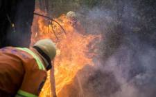 Fire crews battle flare ups in the Knysna mountains using both helicopters and ground teams. Picture: Thomas Holder/EWN.
