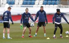 Real Madrid's record signing Gareth Bale seen with teammates during a training session. Picture: Twitter/@realmadrid.