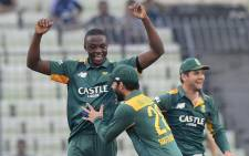 FILE: Kagiso Rabada (L) celebrates taking a wicket. Picture: Cricket South Africa @OfficialCSA/Twitter.