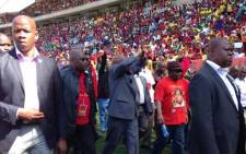 President Jacob Zuma arrives at the Peter Mokaba Stadium in Polokwane for a Workers Day rally on 1 May flanked by Sidumo Dlamini and Blade Nzimande. Picture: Lesego Ngobeni/EWN.