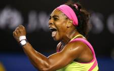 Top seed Serena Williams fought off a barking cough to clinch her 19th grand slam singles title with a 6-3 7-6(5) victory over Maria Sharapova in the Australian Open final on Saturday. Picture: Twitter ‏@AustralianOpen.