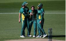 Proteas players celebrate a wicket. Picture: @OfficialCSA/Twitter