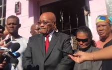 EWN video screengrab of President Jacob Zuma outside Courtney Pieters' home.