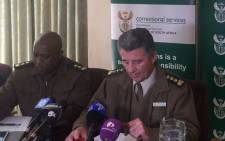 Acting Correctional Services Commissioner James Smalberger addresses the media. Picture: Thando Kubheka/EWN