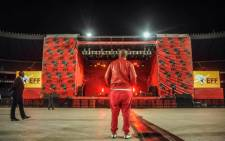 Economic Freedom Fighters leader, Julius Malema, looking at the stage during the preparations a night before his party local election manifesto launch at Orlando Stadium on 29 April 2016. Picture: EFF Facebook.