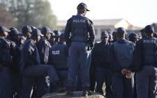 Police closely monitor tensions in Marikana in the North West Province on 14 August 2012. Picture: Taurai Maduna/EWN
