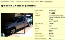 A screenshot of the Gumtree ad.