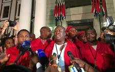 EFF leader Julius Malema addressed the media after he was forcibly ejected from the National Assembly during the State of the Nation Address on 12 February 2015.