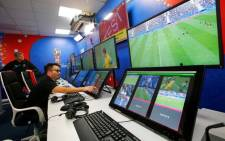 FILE: An interior view shows a video operation room, a facility of the video assistant referee (VAR) system which will be rolled out for the first time at a World Cup, during a demonstration in Moscow, on 9 June 2018. Picture: Reuters.