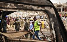 The aftermath of a truck bomb in the centre of Mogadishu, Somali. The bomb exploded outside a hotel at a busy junction in Somalia's capital Mogadishu on 14 October 2017. Picture: AFP.