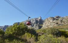 A general view of Table Mountain cable car going up the mountain. Picture: @TableMountainCa/Twitter
